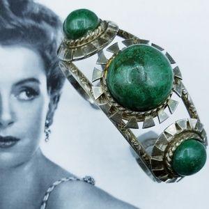 Vintage Chrysocolla Sterling Silver Peru Bracelet